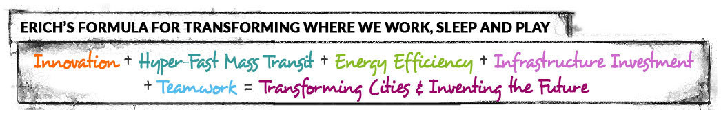 Innovation + Hyper-Fast Mass Transit + Energy Efficiency + Infrastructure Investment + Teamwork = Transforming Cities & Inventing the Future